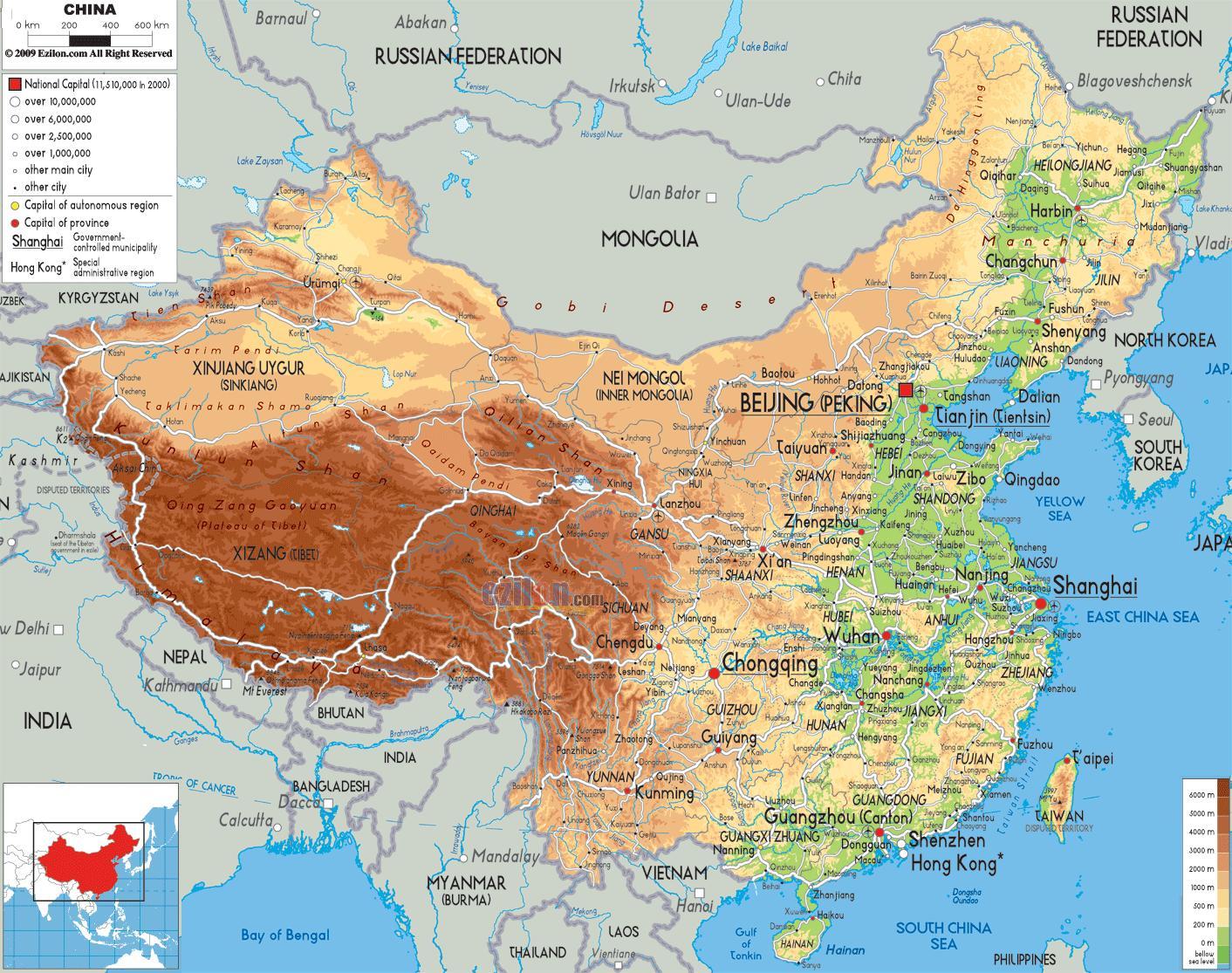 Cina Cartina Fisica Geografica.Mappa Fisica Della Cina Mappa Fisica Cina Asia Orientale