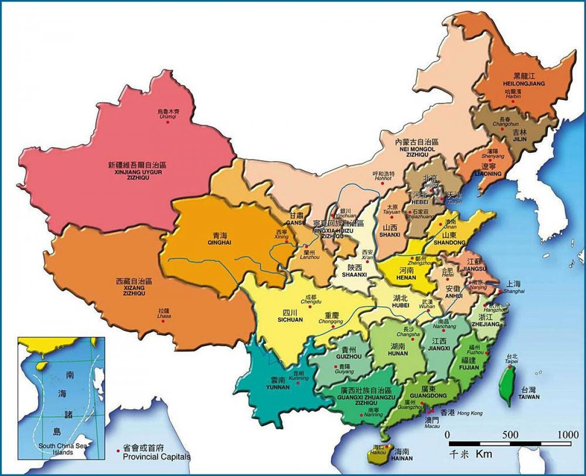 Cartina Cina Con Province.Mappa Cina Province Mappa Della Cina Province Asia Orientale Asia