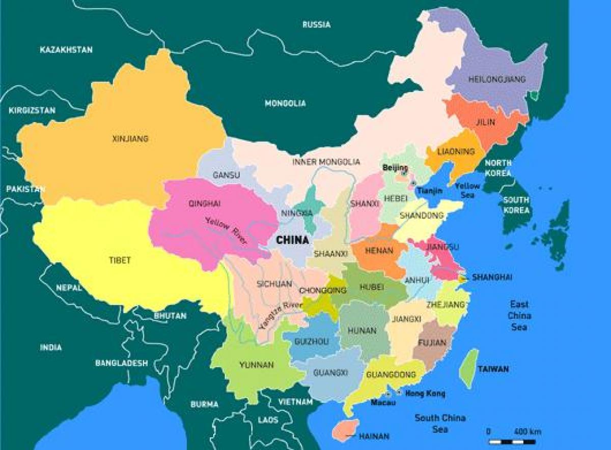 Cartina Cina Con Province.Mappa Della Cina Province Cina La Mappa Per Province Asia Orientale Asia