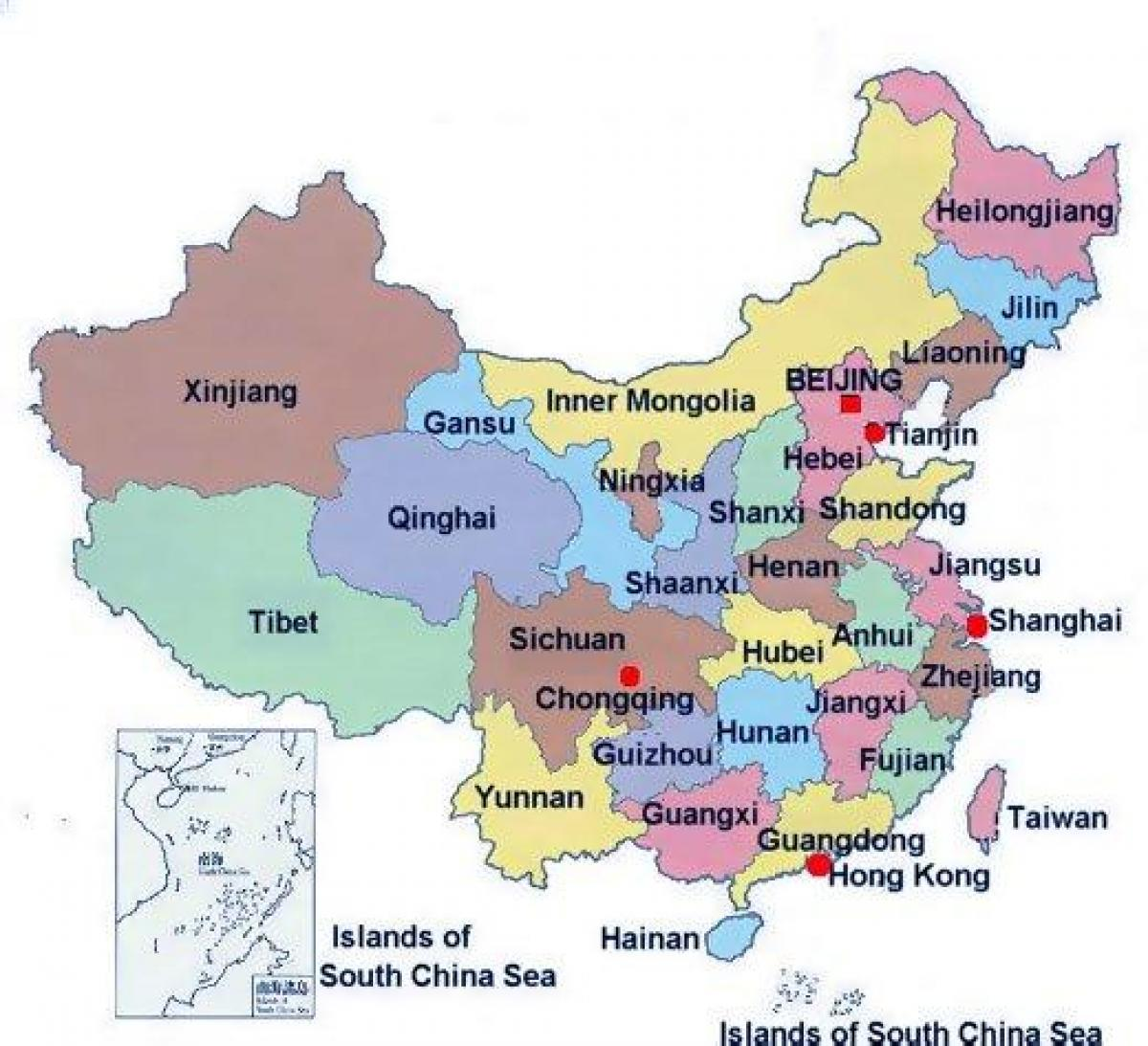 Provinciale mappa di Cina - Provinciale mappa Cina (Asia Orientale - Asia)